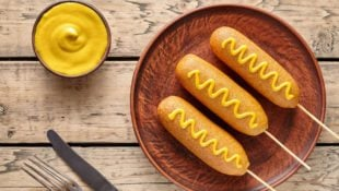 Corn Dogs with Honey Mustard Dipping Sauce