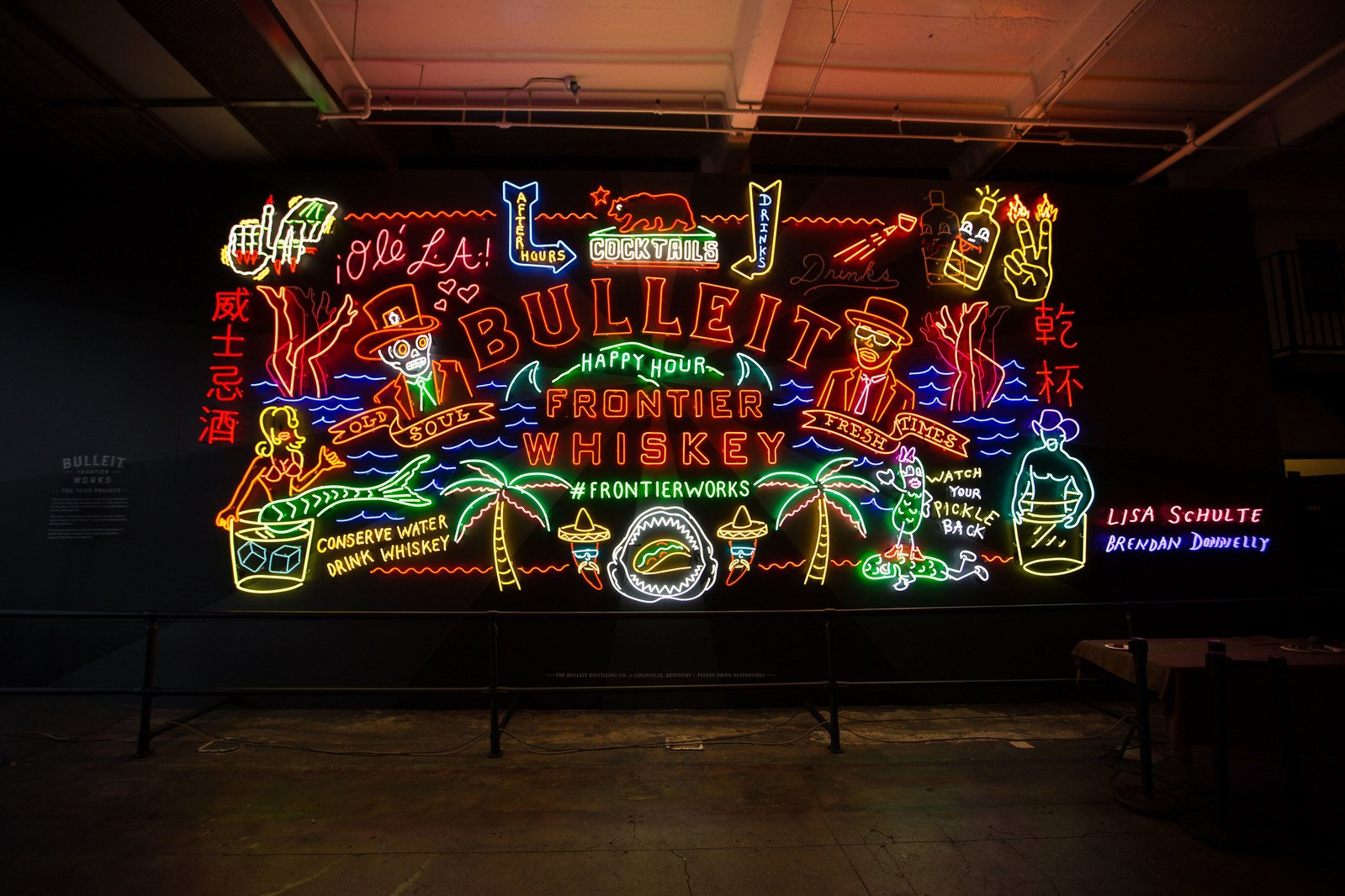 Bulleit Frontier Works NEON Project Billboard