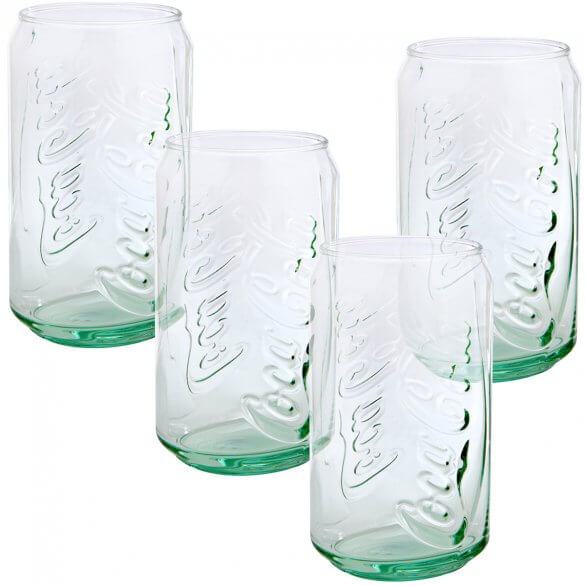 Coca-Cola Can Green Glass - Set of 4 11oz