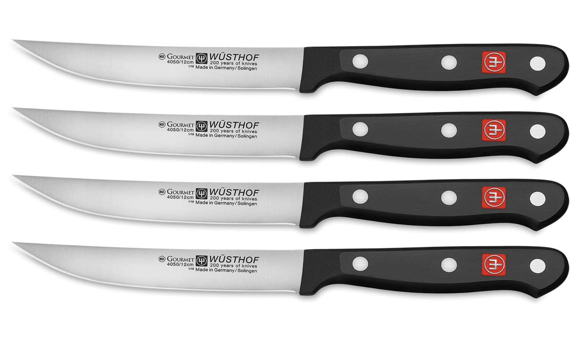 Wusthof Gourmet Four 4-Piece German Precise Laser Cut High Carbon Stainless Steel Kitchen Steak Knife Set - Model 9729