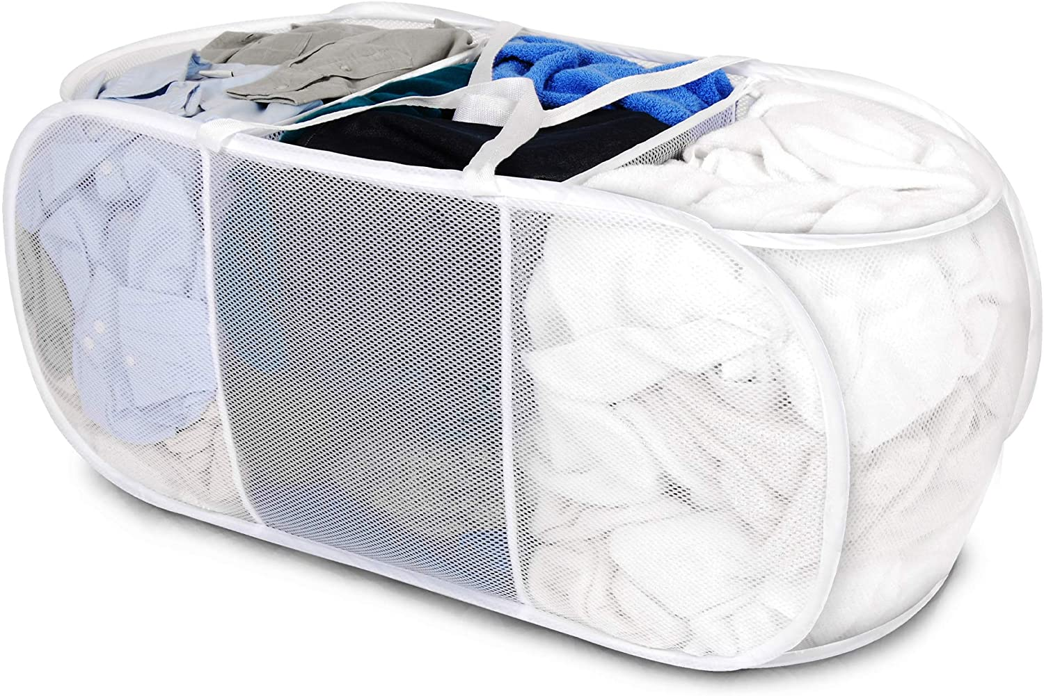 Smart Design Deluxe Mesh Pop Up 3 Compartment Laundry Sorter Hamper Basket - VentilAir Fabric Collapsible Design - for Clothes & Laundry - Home Organization (Holds 6 Loads) (33 x 15 Inch) [White]