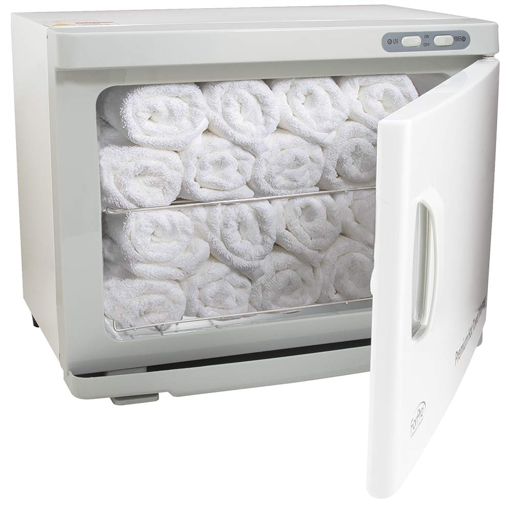 ForPro Professional Collection Premium Hot Towel Warmer, Extra Large Capacity, Two Stainless Steel Racks, White
